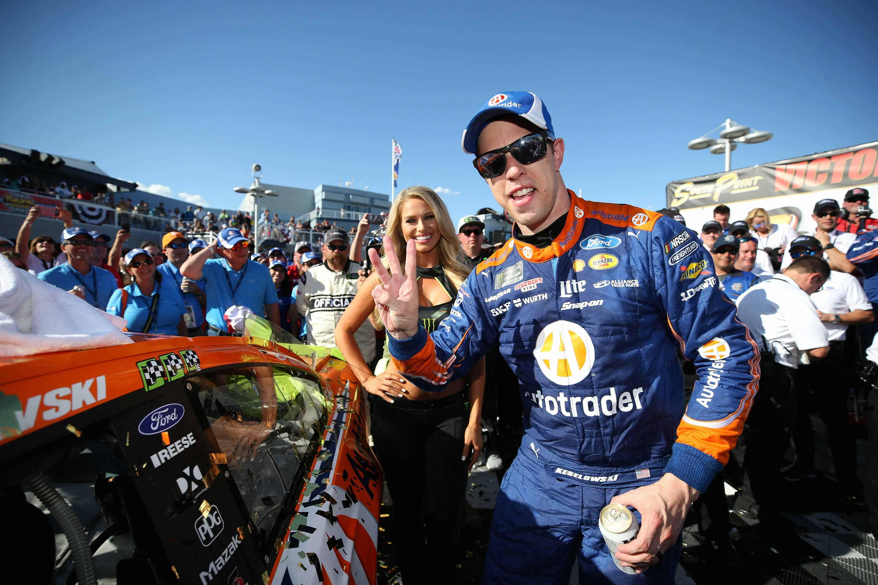 Brad Keseklowski - Monster Energy Girls in victory lane at Las Vegas Motor Speedway
