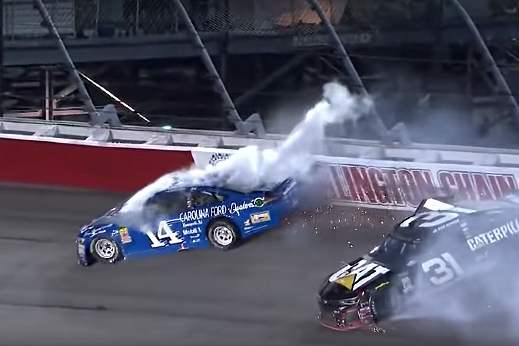 Clint Bowyer and Ryan Newman crash at Darlington Raceway