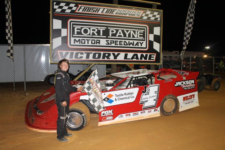 Colten Jackson in victory lane at Fort Payne Motor Speedway
