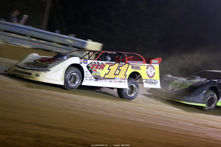Jared Hawkins leads Jimmy Owens at Tyler County Speedway 8008