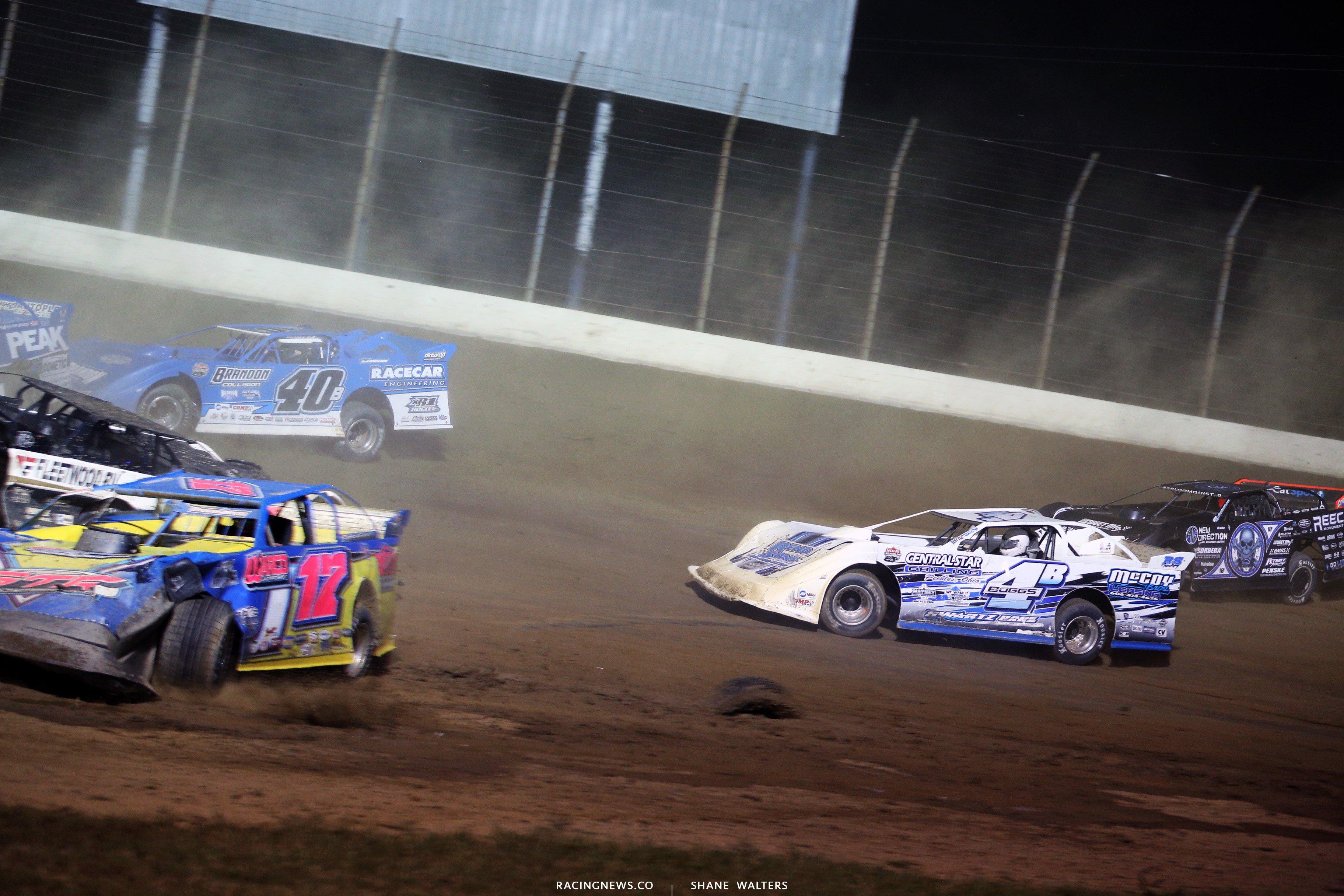 Kyle Bronson and Scott Bloomquist crash at Portsmouth Raceway Park 7388