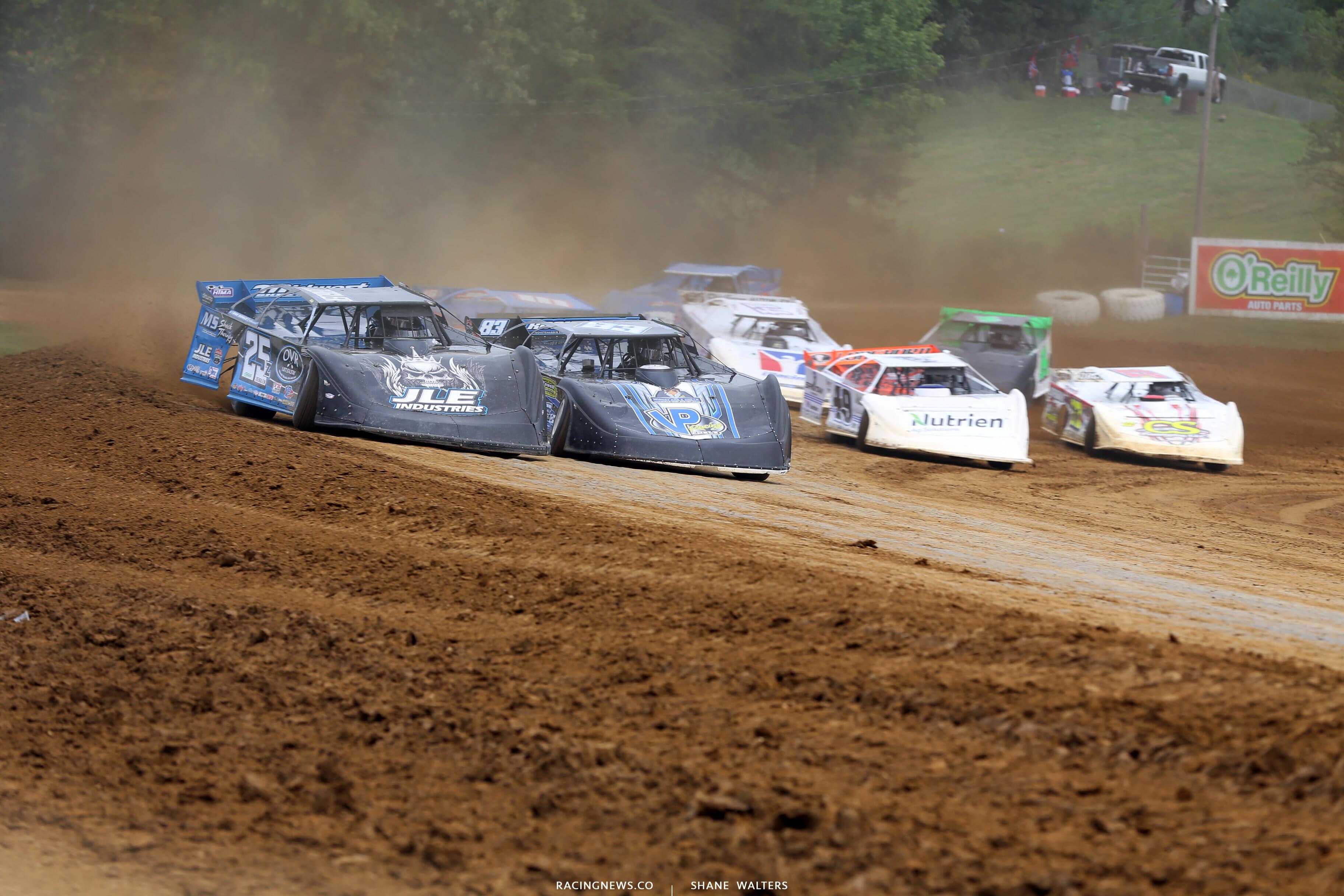 Mason Zeigler and Scott James at Brownstown Speedway in the Jackson 100 9931