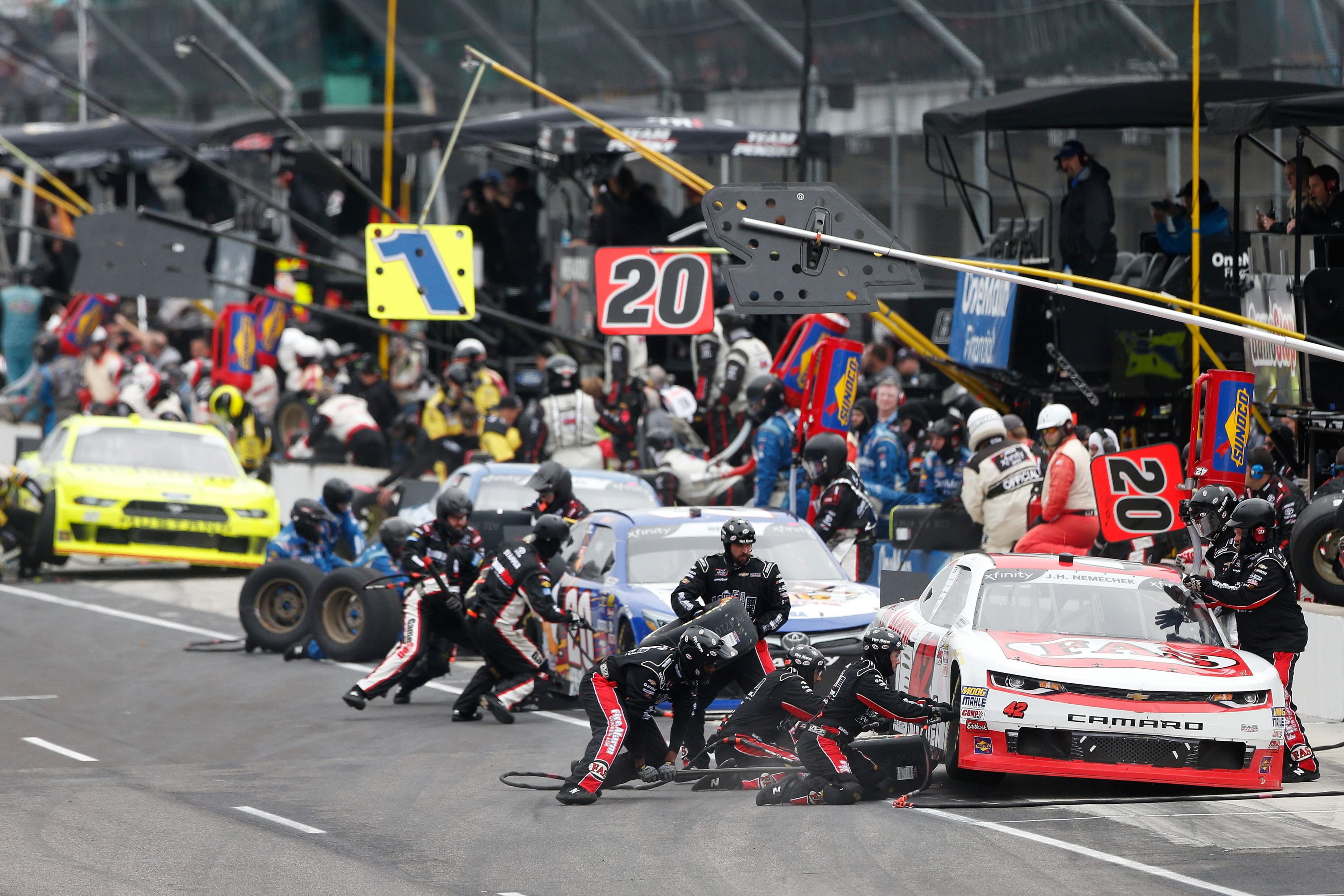 NASCAR Xfinity Series pit stop at Indianapolis Motor Speedway