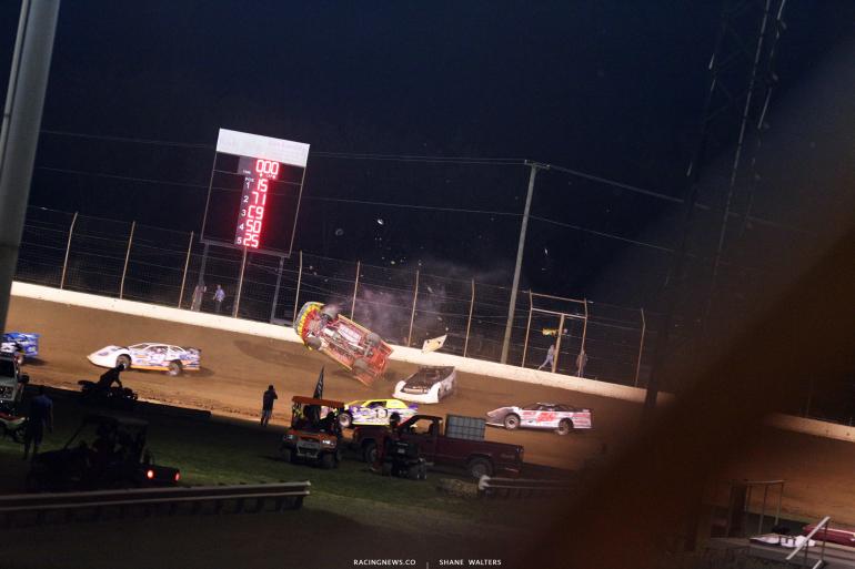 RJ Conley - Dirt Late Model flip at Portsmouth Raceway Park 7302