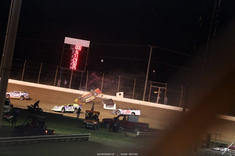 RJ Conley - Dirt Late Model rollover at Portsmouth Raceway Park 7303