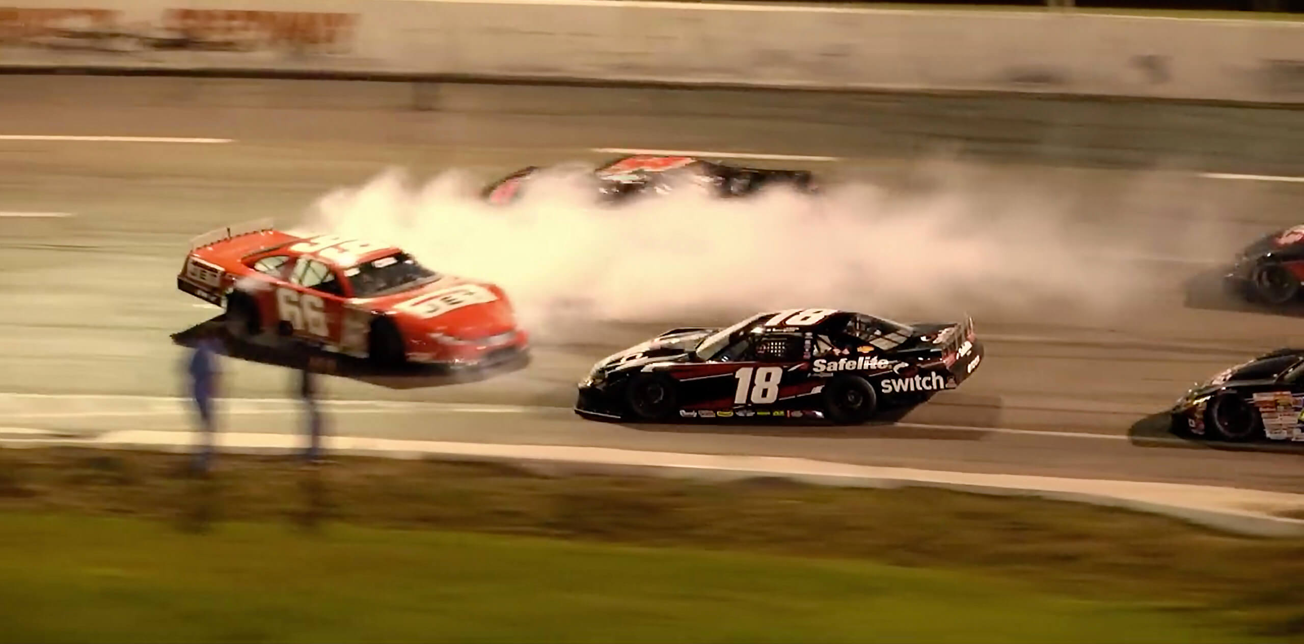 Raphael Lessard vs Steve Wallace in the CARS Tour race at Orange County Speedway