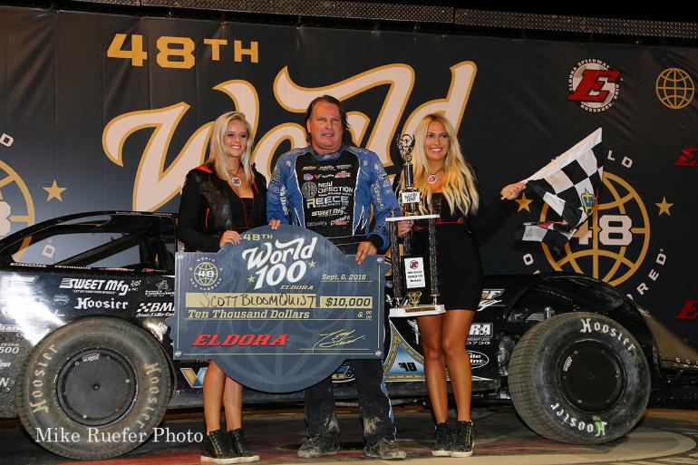 Scott Bloomquist and the victory lane girls at Eldora Speedway
