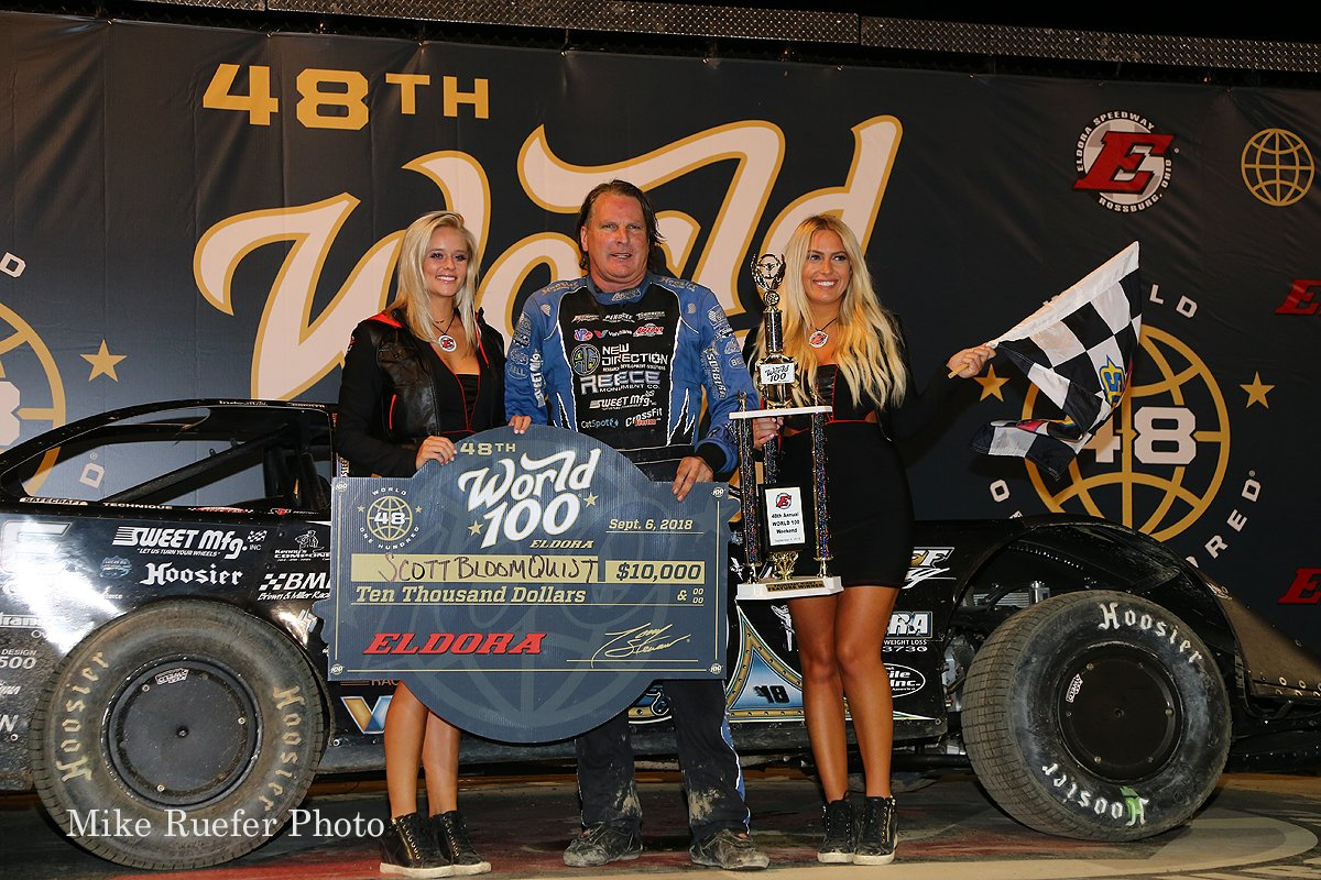 Scott Bloomquist and the victory lane girls at Eldora Speedway