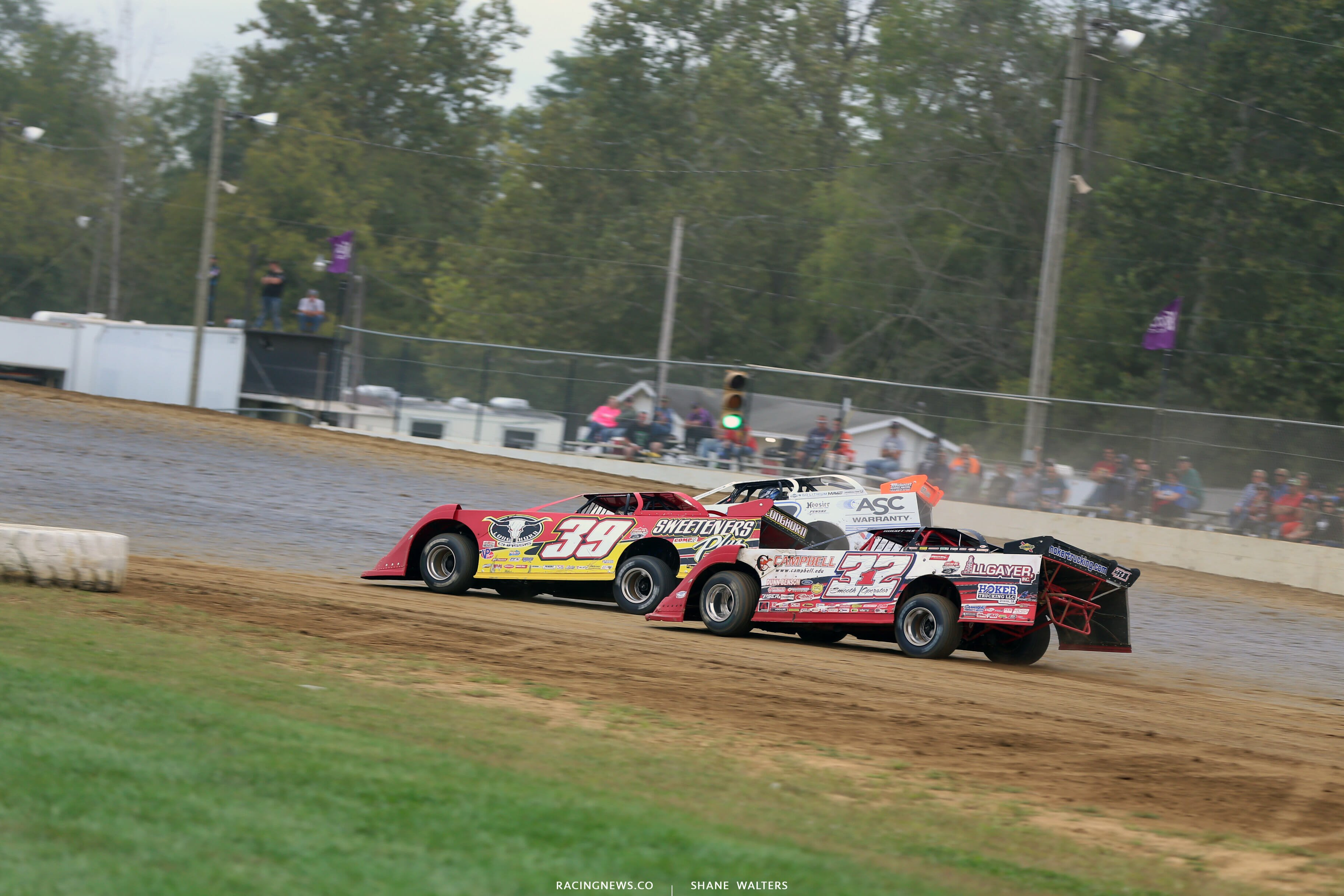 Tim McCreadie, Jonathan Davenport and Bobby Pierce at Brownstown Speedway in the Jackson 100 0350