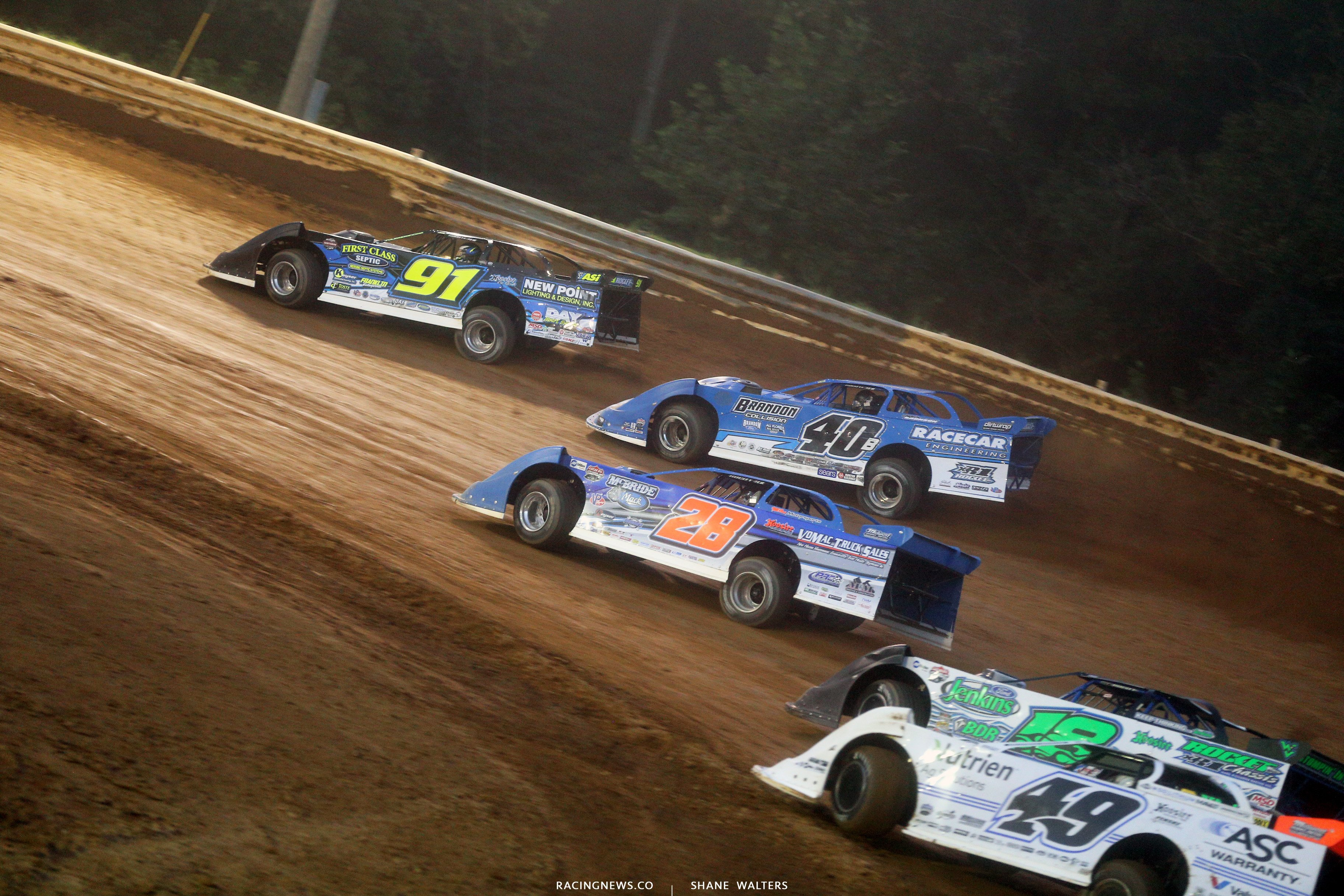 Tyler Erb leads Kyle Bronson at Tyler County Speedway7809