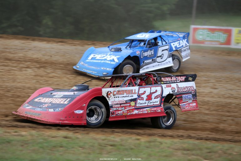 Bobby Pierce and Don O'Neal at Brownstown Speedway - Lucas Oil Late Model Dirt Series 0257