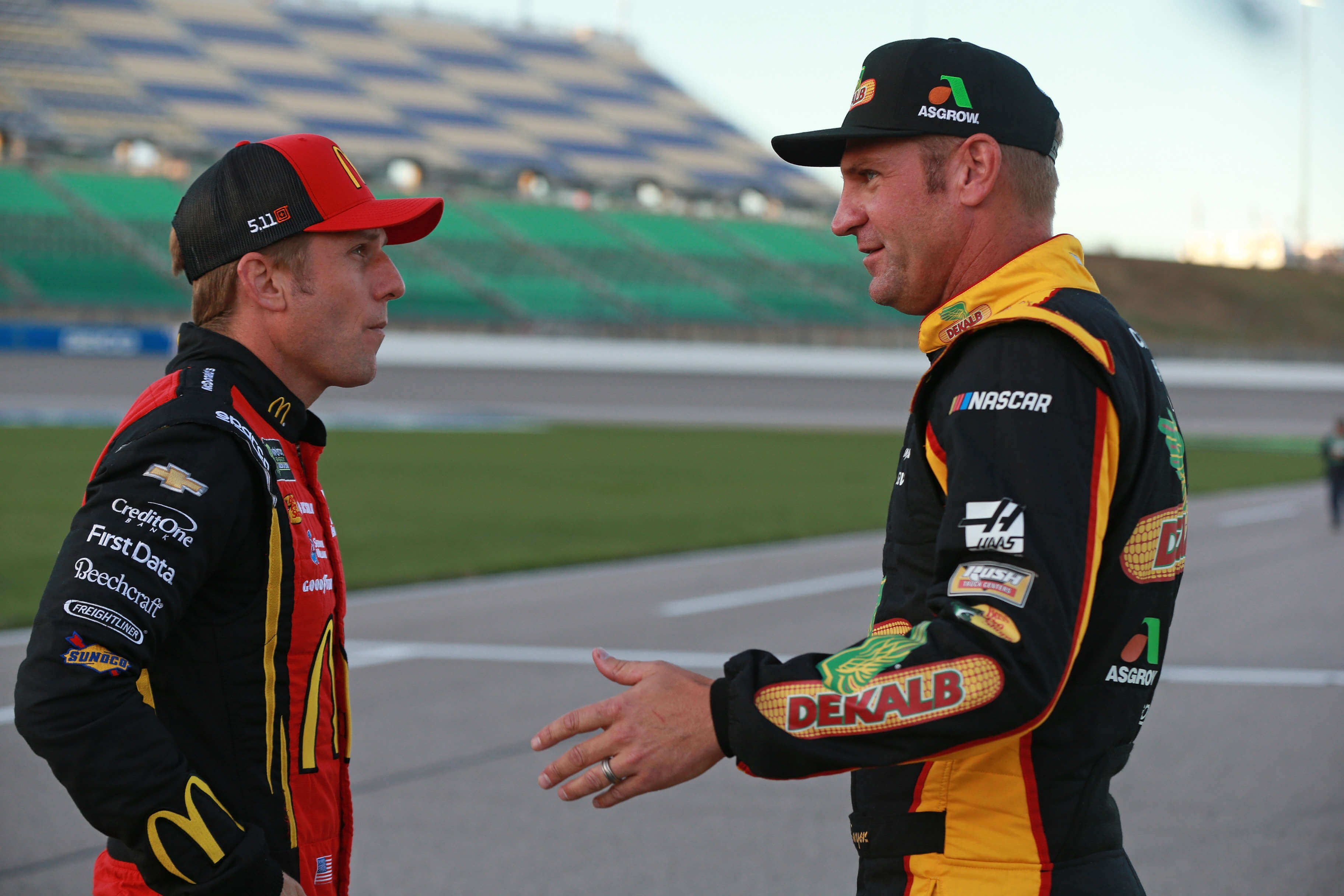 Clint Bowyer and Jamie McMurray at Kansas Speedway