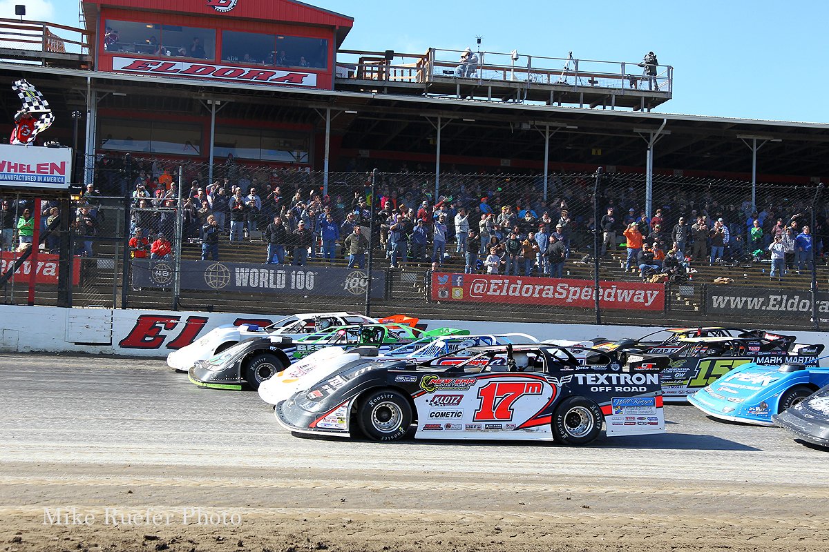 Four wide salute at Eldora Speedway in the World 100