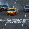 Joey Logano, Martin Truex Jr and Denny Hamlin at Martinsville Speedway