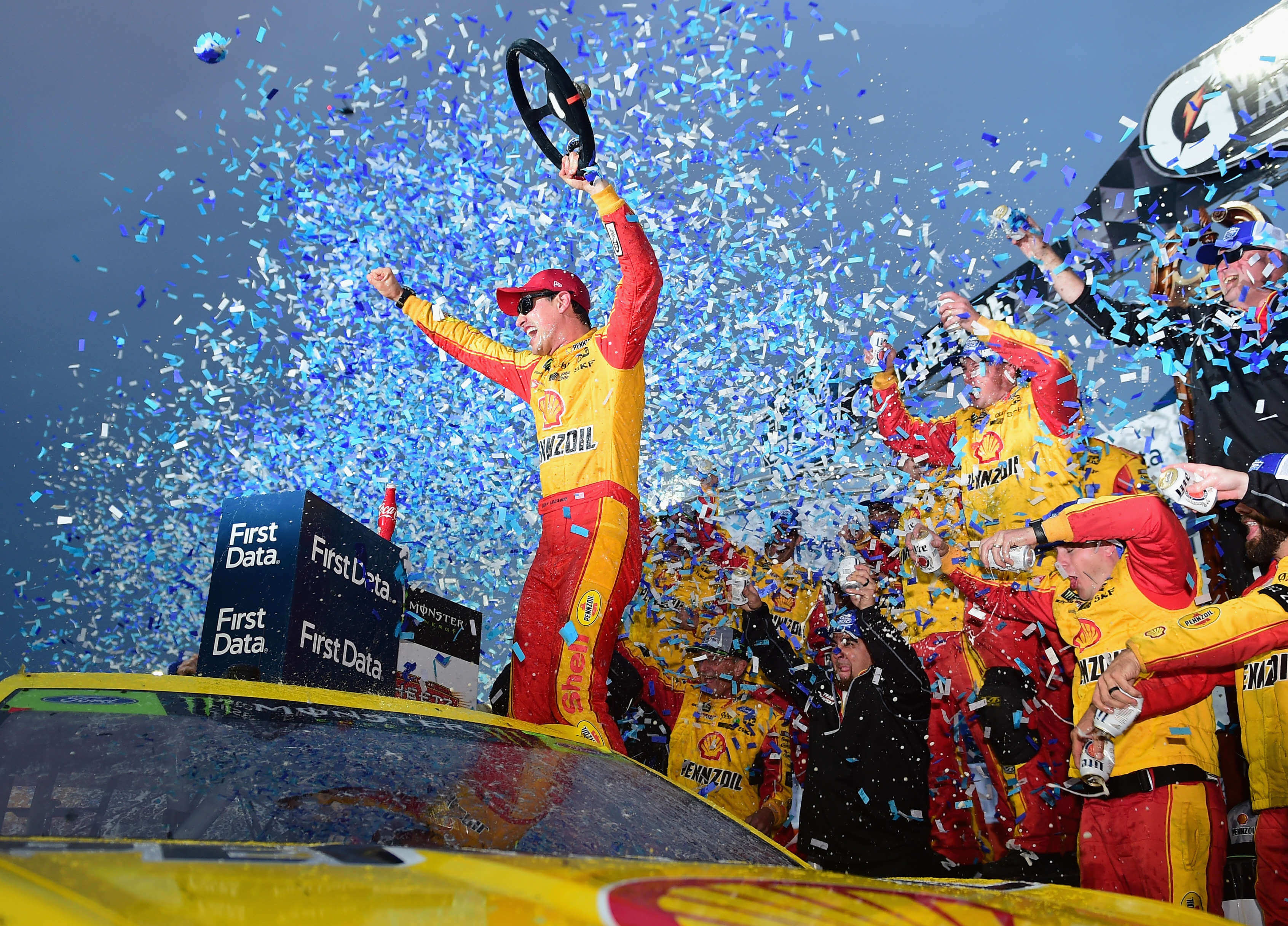 Joey Logano in Victory Lane at Martinsville Speedway