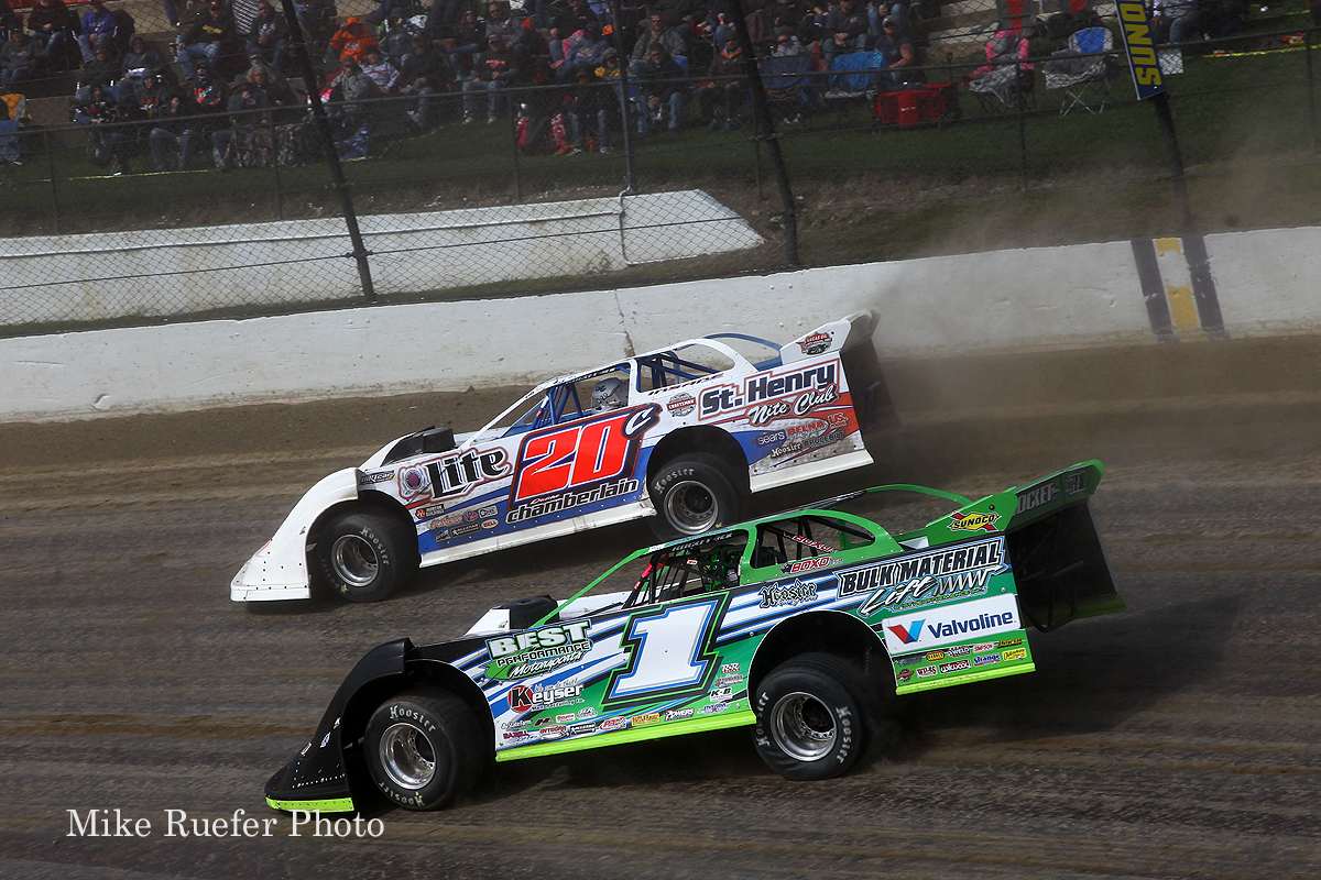 Josh Richards and Duane Chamberlain at Eldora Speedway