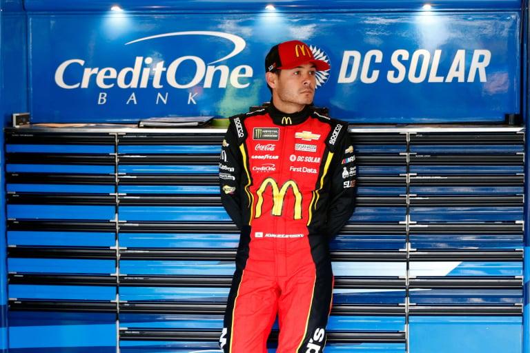 Kyle Larson in the NASCAR garage area at Kansas Speedway