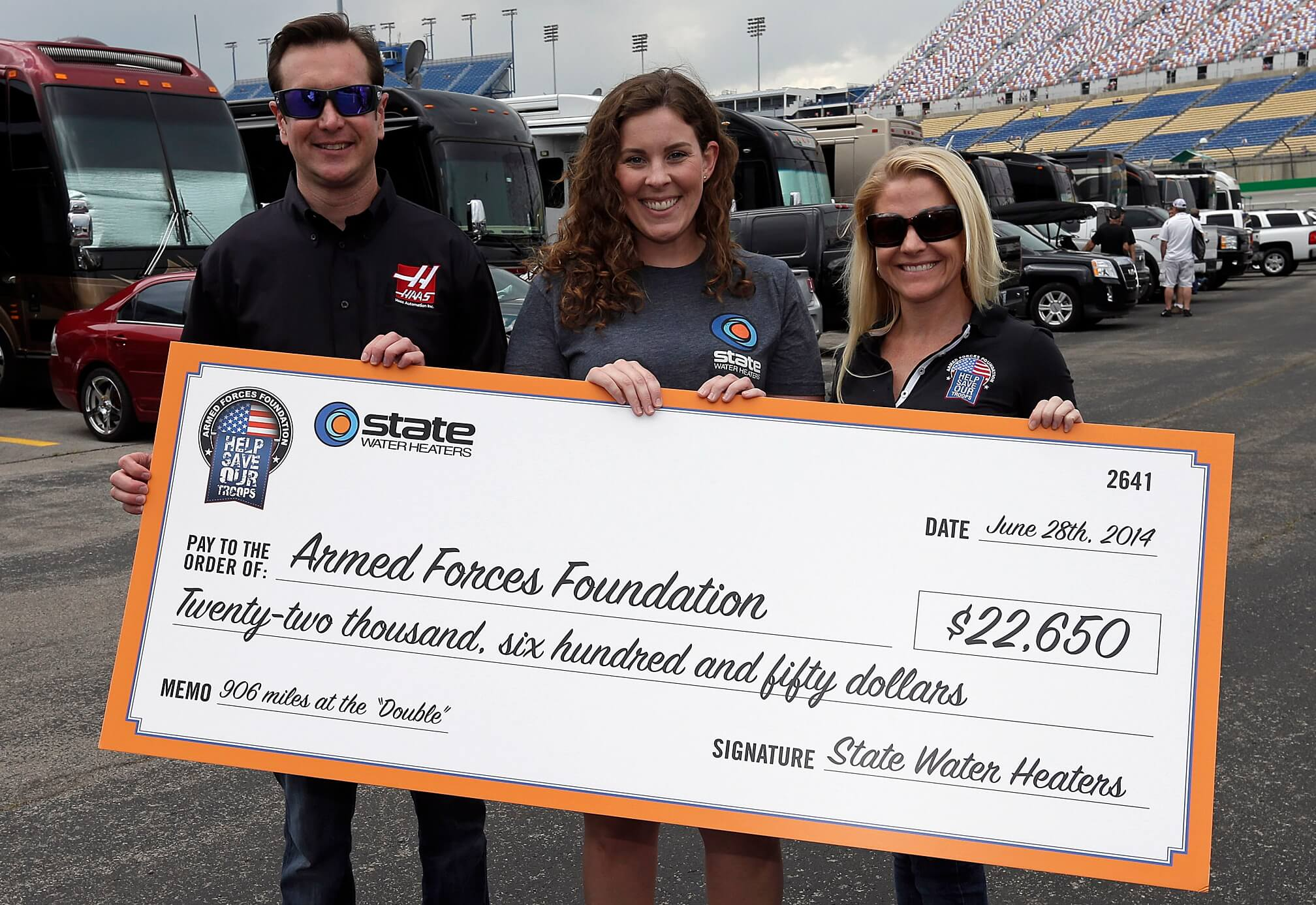 Patricia Driscoll and Kurt Busch - Armed Forces Foundation Donation
