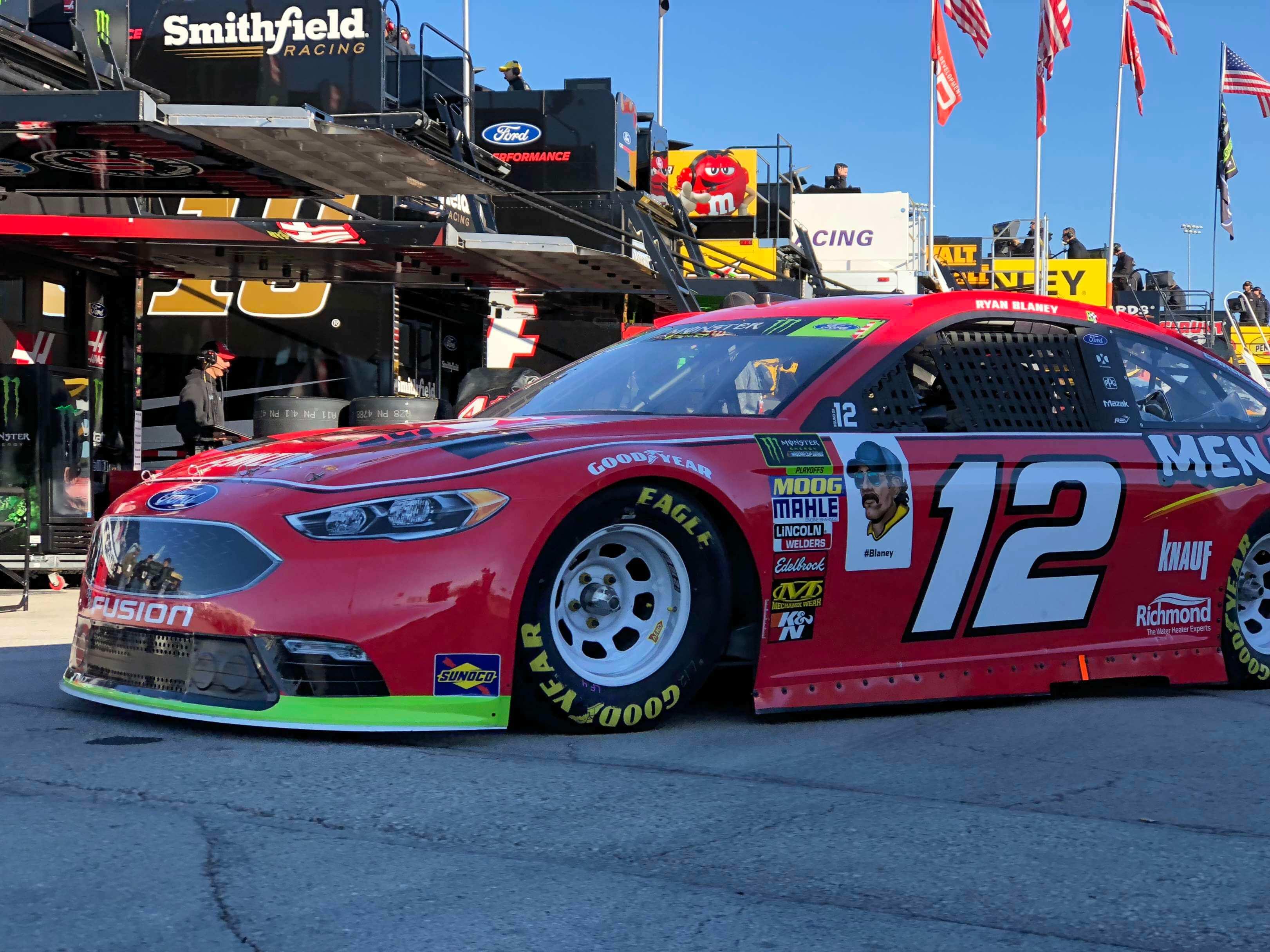 Ryan Blaney in the garage area at Kansas Speedway