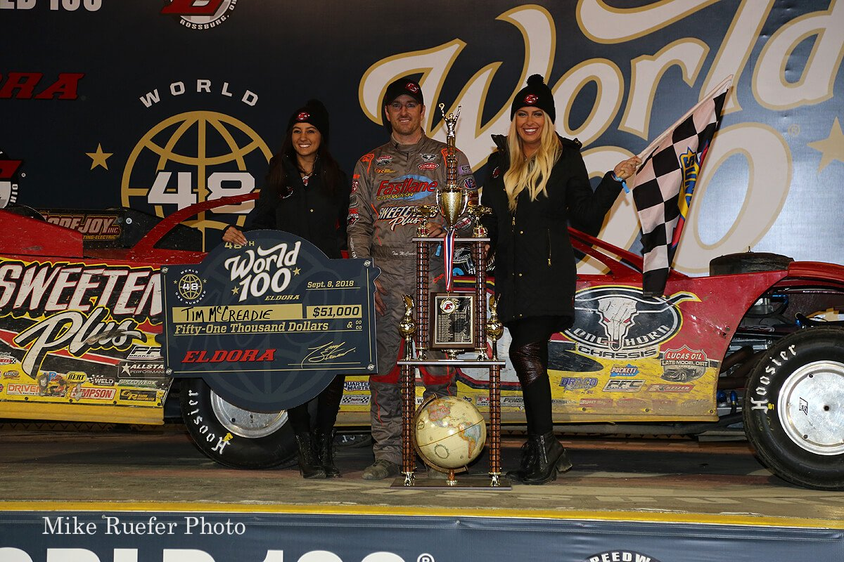 Tim McCreadie in victory lane after the World 100 win