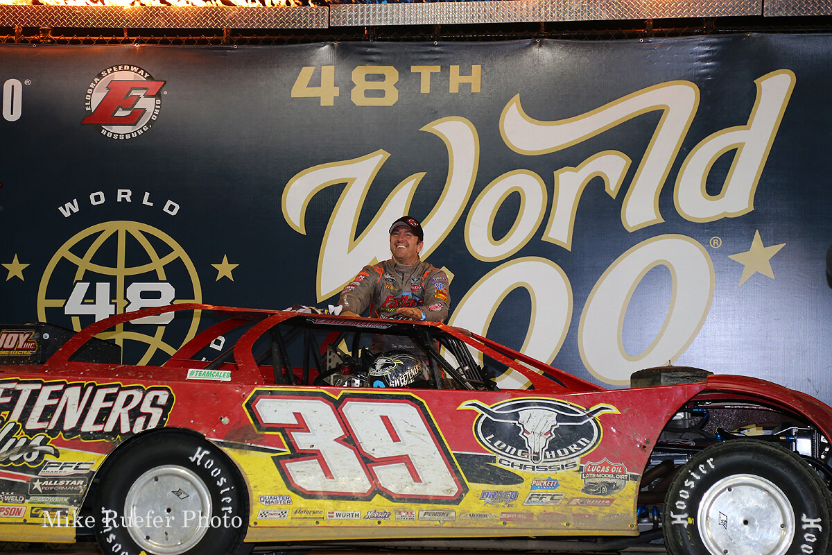 Tim McCreadie in victory lane at Eldora Speedway