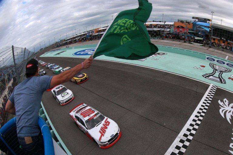 Cole Custer leads them to green in the NASCAR Xfinity Series race at Homestead-Miami Speedway