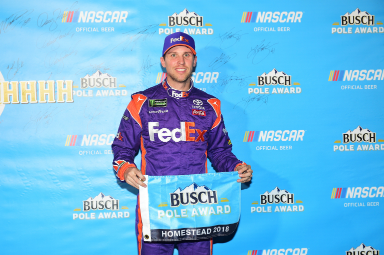 Denny Hamlin takes the pole position following NASCAR Cup Series qualifying at Homestead-Miami Speedway