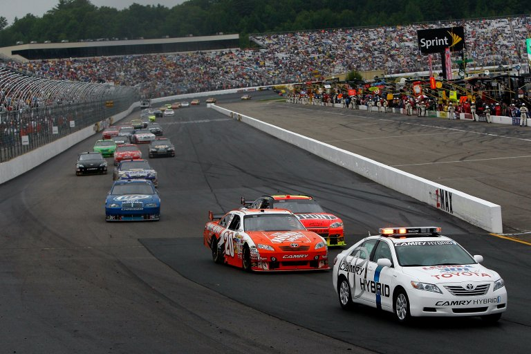 Joey Logano leads Jeff Gordon and Rusty Wallace at New Hampshire Motor Speedway