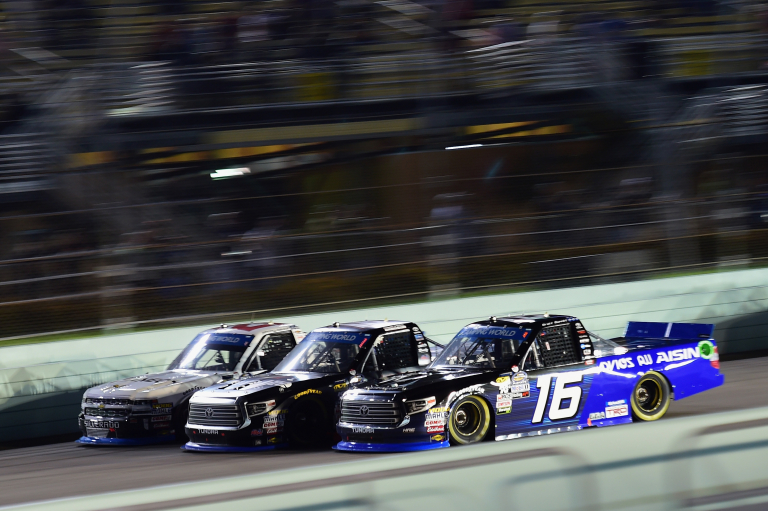 Johnny Sauter, Noah Gragson and Brett Moffitt at Homestead-Miami Speedway