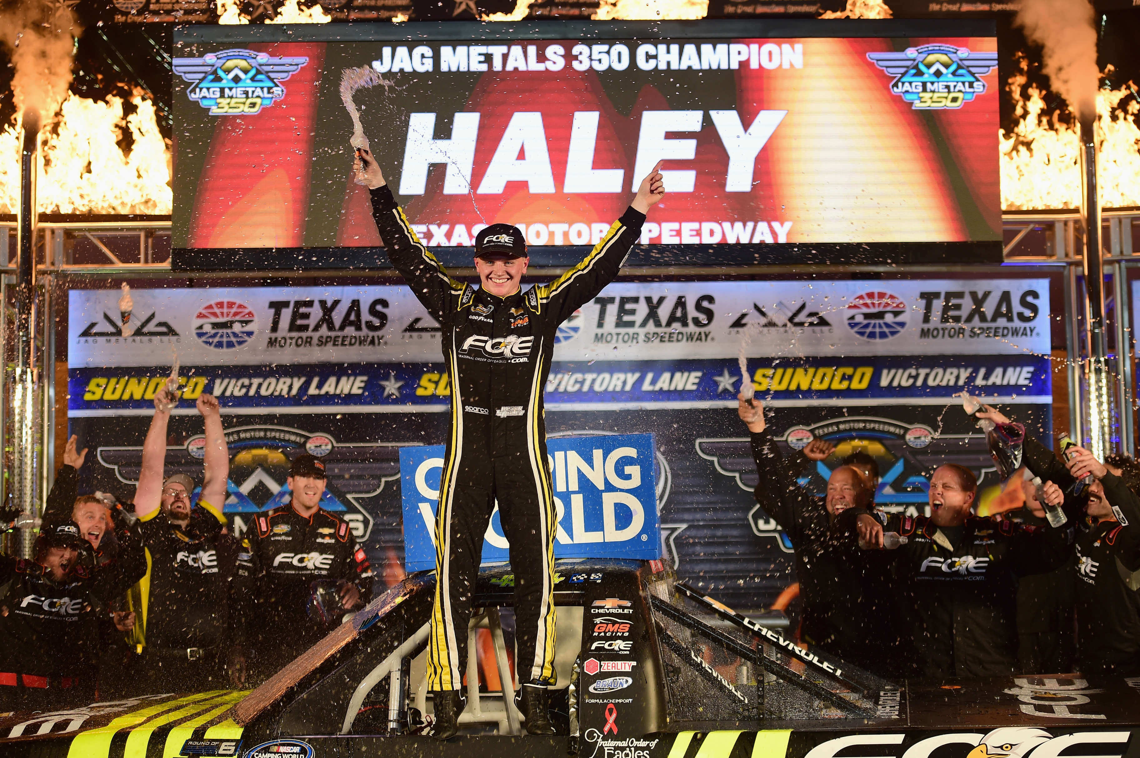 Justin Haley in vicory lane at Texas Motor Speedway