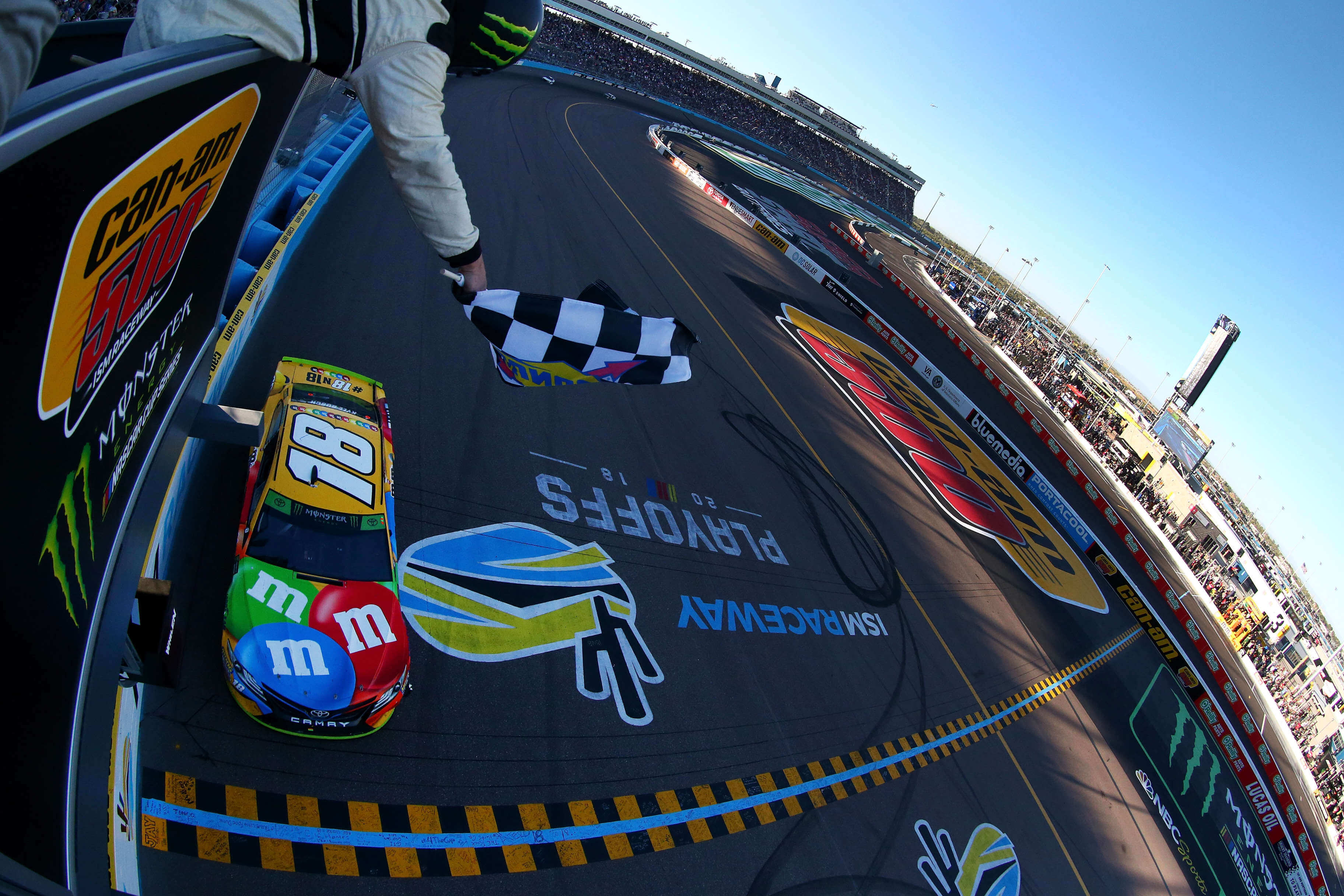 Kyle Busch wins the NASCAR race at ISM Raceway