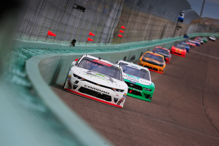 Tyler Reddick runs the wall at Homestead-Miami Speedway