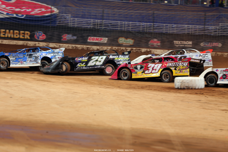 Brandon Sheppard, Jason Whelshan, Tim McCreadie and Jonathan Davenport in the Gateway Dirt Nationals 4445