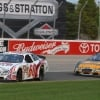 Carl Edwards leads Erik Darnell at the Milwaukee Mile
