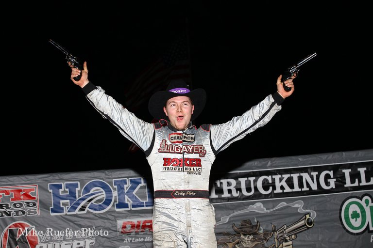 Bobby Pierce in victory lane in the Wild West Shootout