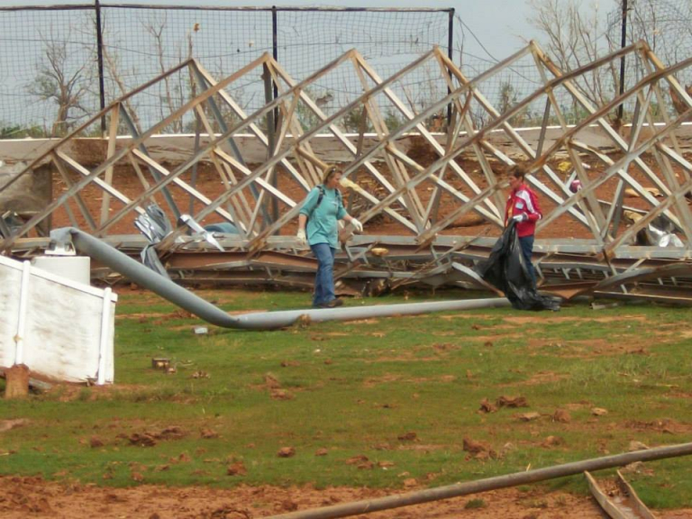 Dirt track cleanup after tornado