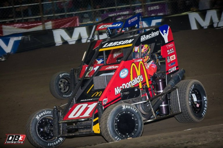 Kyle Larson and Christopher Bell in the Chili Bowl Nationals