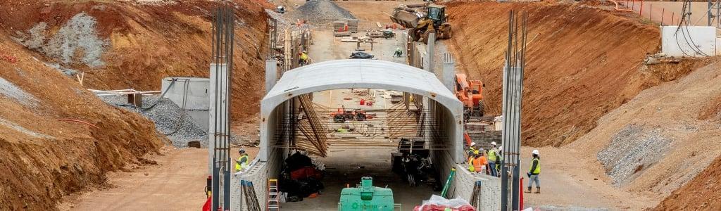 Talladega Superspeedway tunnel construction in progress