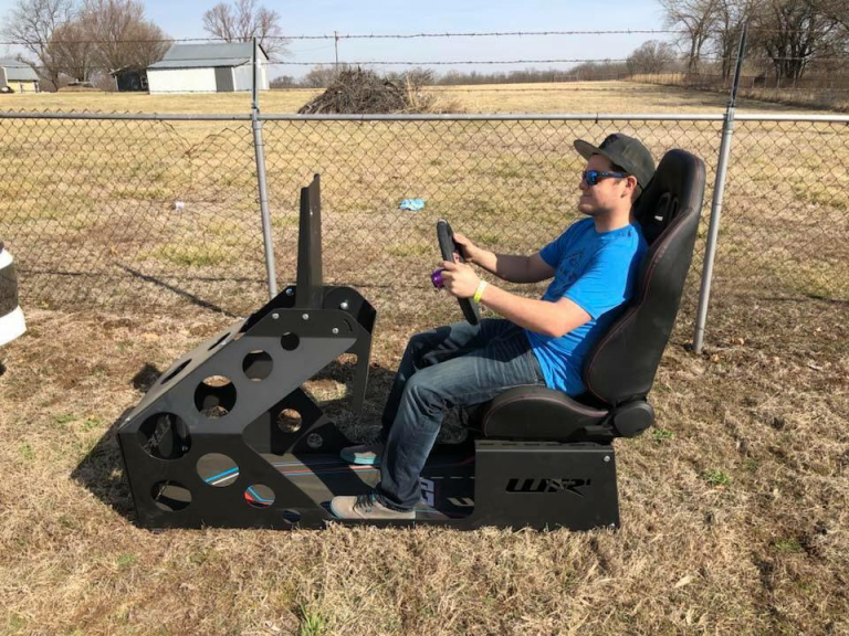 Ricky Thornton Jr in his iRacing rig