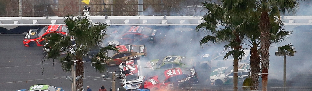 Jimmie Johnson walks through the crash in The Clash at Daytona