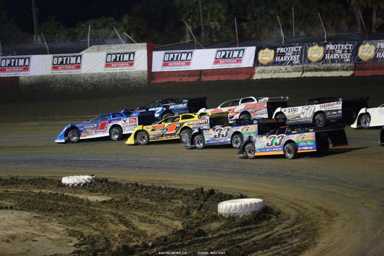 Brandon Sheppard, Gregg Satterlee, Devin Gilpin and Tyler Carpenter at Golden Isles Speedway 7199