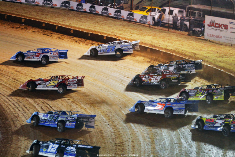 Brandon Sheppard, Hudson O'Neal, Brandon Overton, Tim McCreadie and Dennis Erb Jr at Golden Isles Speedway 5932