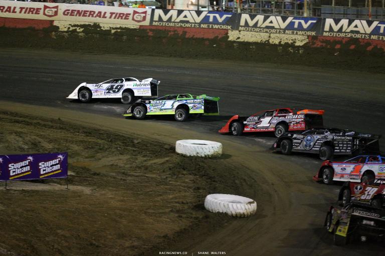 Jonathan Davenport, Tyler Erb, Earl Pearson Jr and Scott Bloomquist at East Bay Raceway Park 9918