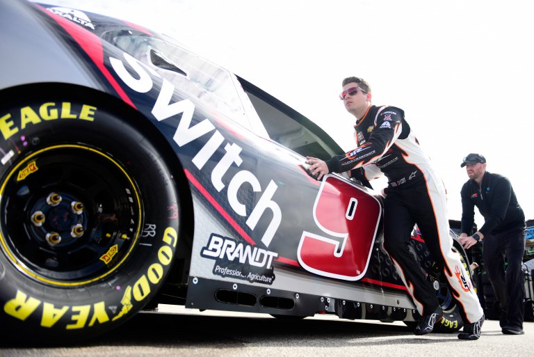 Noah Gragson in the garage area with JR Motorsports - NASCAR Xfinity Series