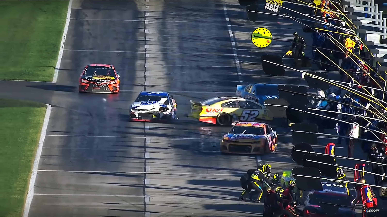 Ryan Preece and BJ McLeod make contact on pit road at Atlanta Motor Speedway