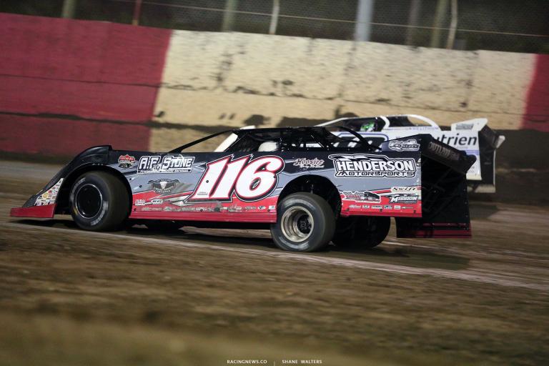 Tanner English and Jonathan Davenport at East Bay Raceway Park 0228