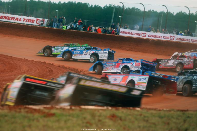 Tyler Erb, Josh Richards, Brandon Sheppardm, Earl Pearson Jr in the Lucas Oil Late Model Dirt Series race 6161