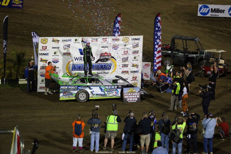 Tyler Erb in victory lane at East Bay Raceway Park 7914