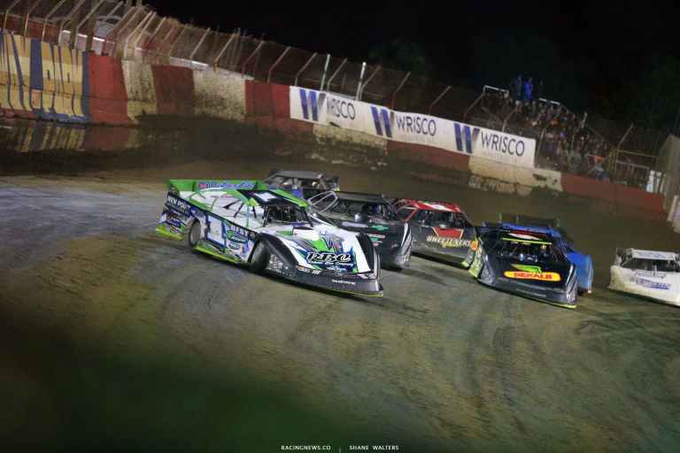 Tyler Erb leads Stormy Scott and Don O'Neal at East Bay Raceway Park - LOLMDS 0068