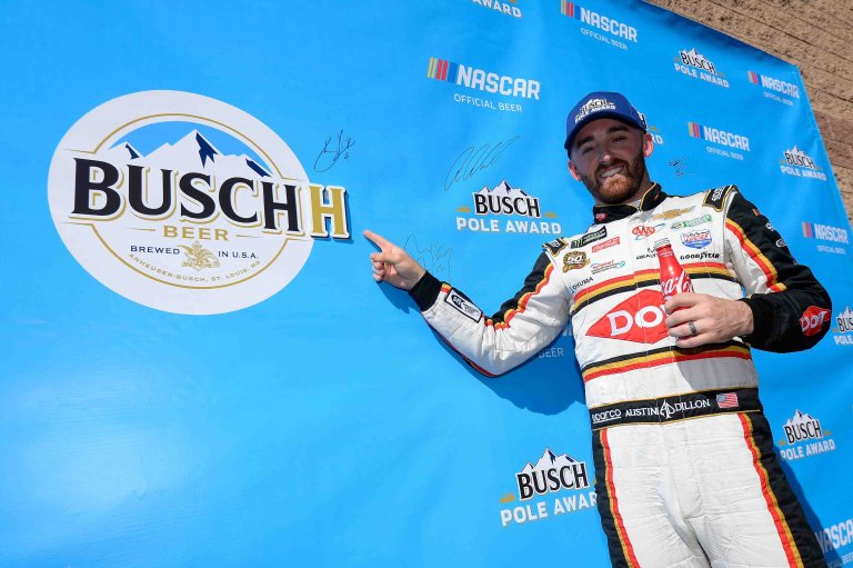 Austin Dillon Busch Pole Award at Auto Club Speedway - NASCAR Cup Series